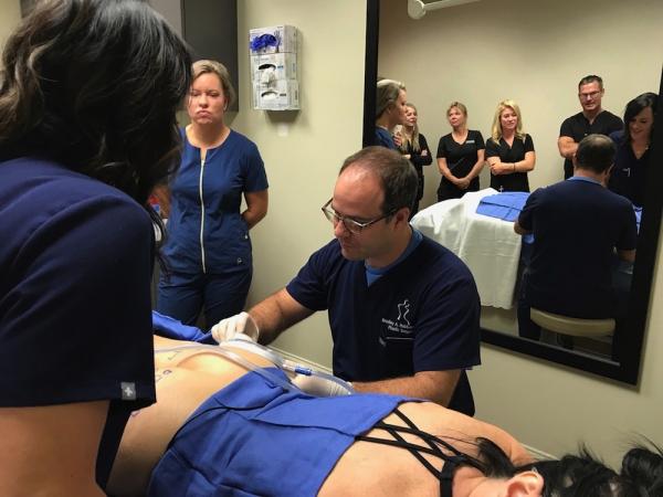 Dr. Hubbard Trains MERZ Employees on Cellfina Dallas TX